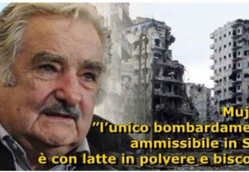 """José Mujica: """"l'unico bombardamento ammissibile in Siria è con latte in polvere e biscotti per i bambini"""""""